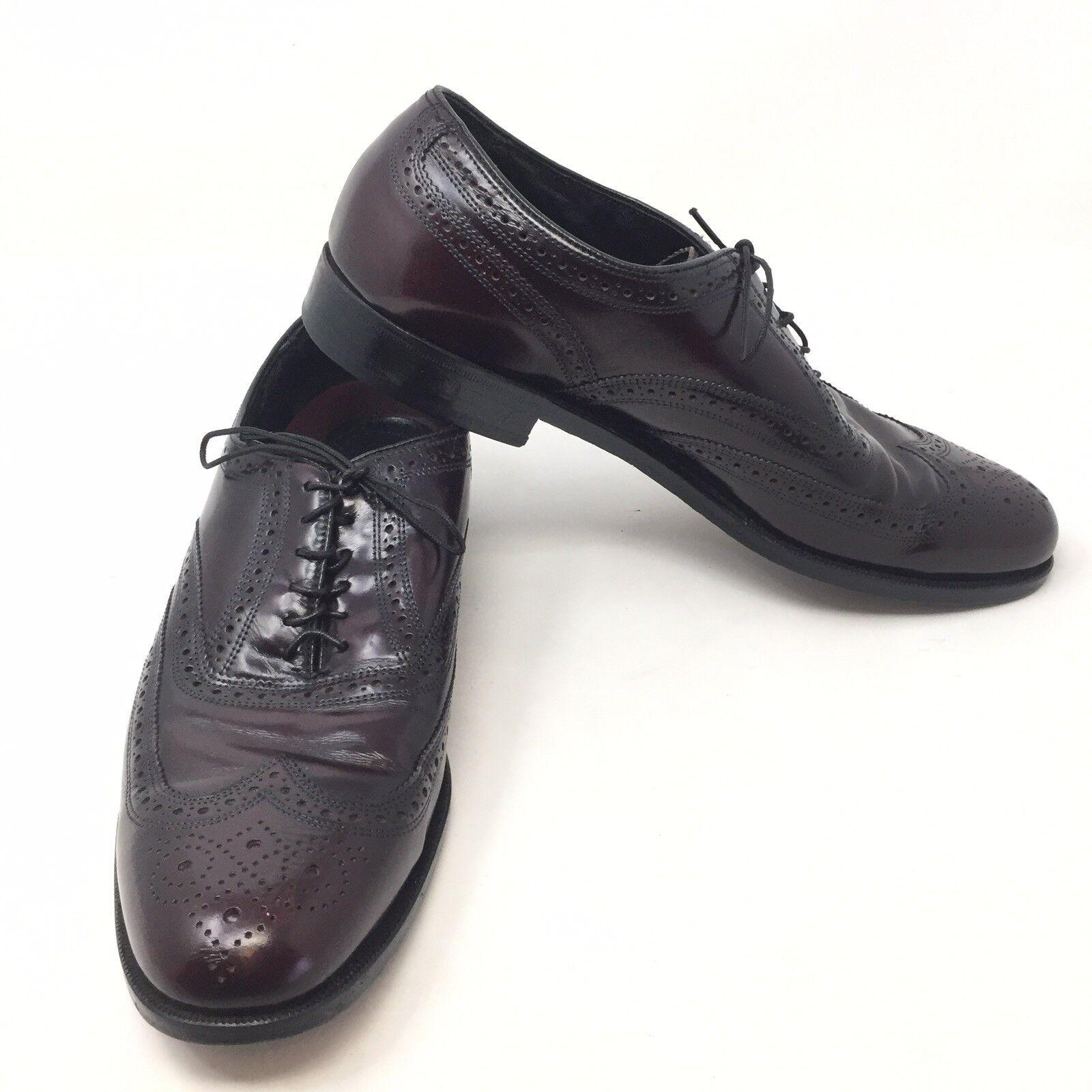 Vintage Florsheim Burgundy Sz 9.5 D Wing Tip Oxfords Dress sautope Leather B1A Sautope classeiche da uomo