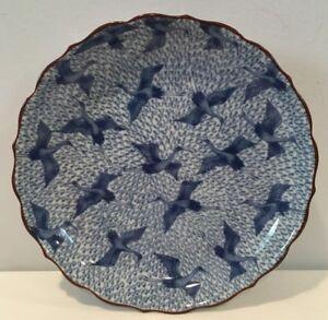 """VTG NOS Fitz & Floyd 7-1/2"""" Blue Stork Pattern Salad Plate Made In Japan MINT!"""
