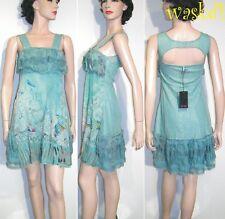 SAVE THE QUEEN delicate L Aqua blue Silk Chiffon LACE detail dress NWT Authentic