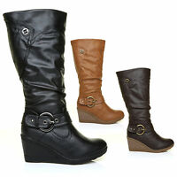 Womens Leather Look High Calf Length Mid Wedge Heel Boots Ladies Buckle Design