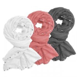 XXL Écharpe avec Perles Blanc Gris Rose Écharpe Étole Plaid Femmes ... c0b4013a1d2