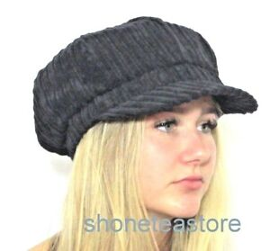 923aefce1a650 Image is loading Baker-Boy-Hat-Quality-BLACK-Corduroy-Womens-Ladies-