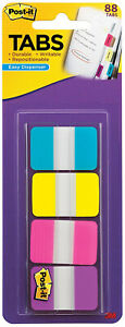 3M-Post-It-Tabs-1-034-x-1-5-034-Writable-Repositionable-4-Pastel-Colors-88pk