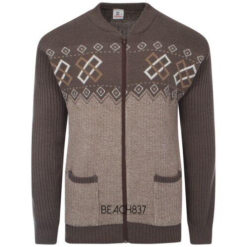 Mens Grandad Knitted Full Zip 2 Pocket Patterned Cardigan Size M L XL XXL