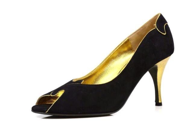 NEW Donald J Pliner 8231 ZANNA-0202' Black & Gold Suede Woman's Heels Sz 7 B