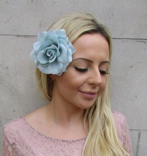 Large Light Turquoise Duck Egg Blue Green Rose Flower Hair Clip Fascinator 6099