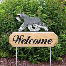 Schnauzer Miniature Dog Breed Oak Wood Welcome Outdoor Yard Sign Salt/Pepper