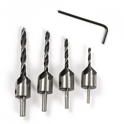 4pcs HSS 5 Flute Countersink Drill Bit Set Reamer Woodworking Chamfer 3mm-6mm