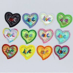 12PCS-NEW-Embroidered-Clothes-Iron-On-Patches-Sew-Motif-Applique-Lovely-heart