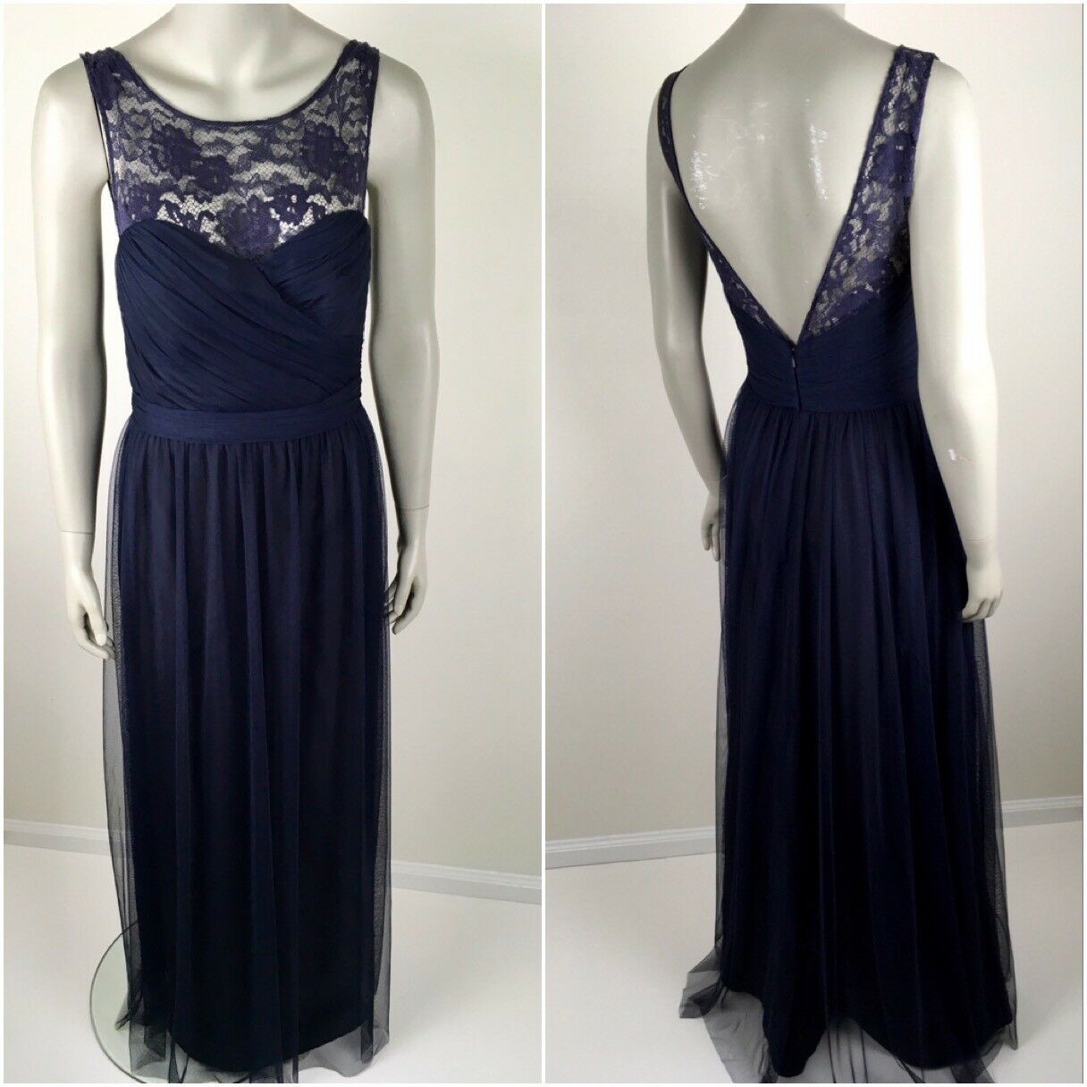 Amsale Womens Dress Size 8 Formal Gown Chandra Dress Blue Bridesmaid Event