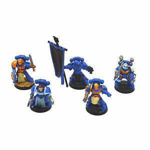 SPACES-MARINES-Command-Squad-1-Warhammer-40K-Painted