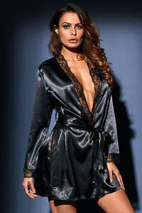 sélection premium 94df0 0577c Détails sur Déshabillé peignoir robe de chambre satin noir dentelle sexy  lingerie pinup
