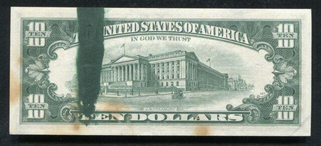 "1969-A $10 TEN DOLLARS FRN FEDERAL RESERVE NOTE ""MAJOR INK SMEAR ERROR"""