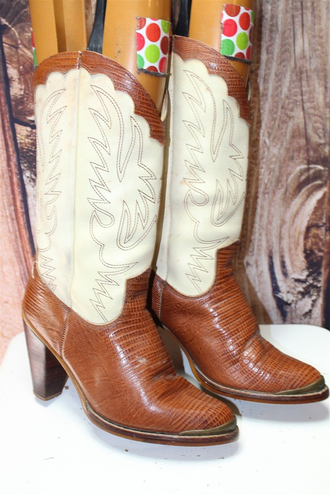 Zodiac 7.5 M Vintage Lizard Brown Cream Women's Heel Western Boots