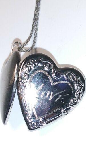 Heart Necklace 925 Sterling Silver Locket Ornate D