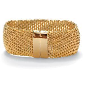 Gold-Tone-Wide-Mesh-Bangle-Bracelet-8-034