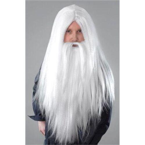 WHITE MEN/'S lunga procedura guidata parrucca e barba-Costume Halloween Merlin Babbo Natale
