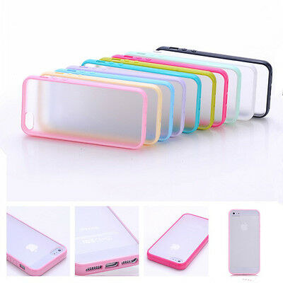 TPU Bumper Frame With Matte Clear Hard Back Skin Case Cover For iPhone 5 5S SE 6