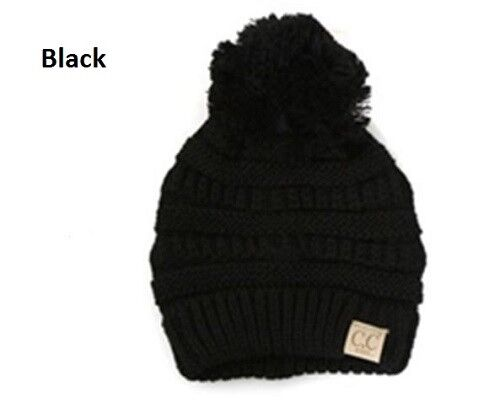 Beanies with w// Pom Solid Ribbed C.C SALE! Kids C.C Beanie// Knit Cap