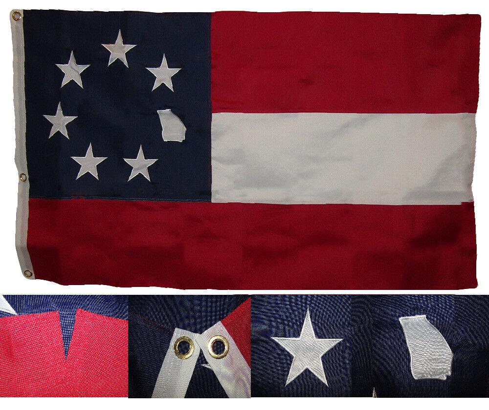 3x5 Bordado Georgia 1º Nacional 7 Estrella 600D 2ply Nailon Flag 0.9mx5 ' 3