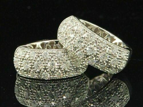 14K White Gold Over 0.80Ct Diamond Hoops Ladies  Round Pave Huggies Earrings