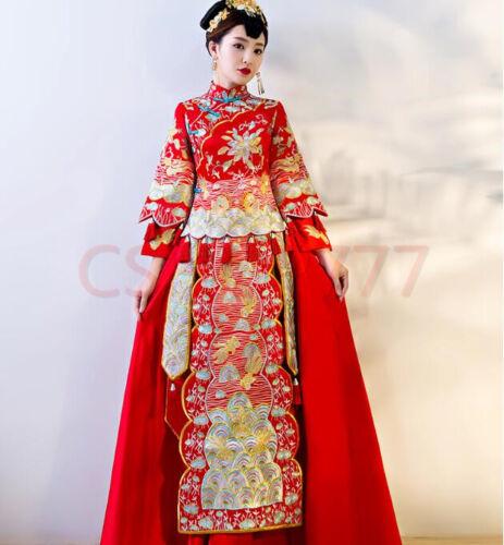 Donna Fiore di Lusso da sposa Abito lungo ricamato con Nappa stile Cinese rosso sposa