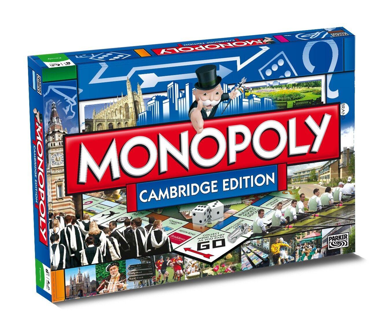 Original Monopoly Cambridge Édition Anglais Jeu de Société Jeu de Société Neuf