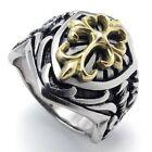 Men's Silver Stainless Steel Celtic Gold Cross Biker Ring Size 8-14 SR55