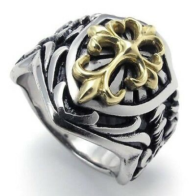 Men's Silver Stainless Steel Celtic Gold Cross Biker Ring Size 8-14 SR55