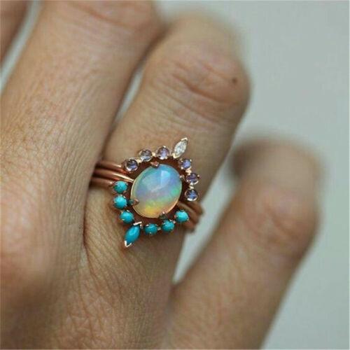 Womens 3Pcs//1set Retro Ring Jewelry Moonstone Fashion Indian Rose Gold