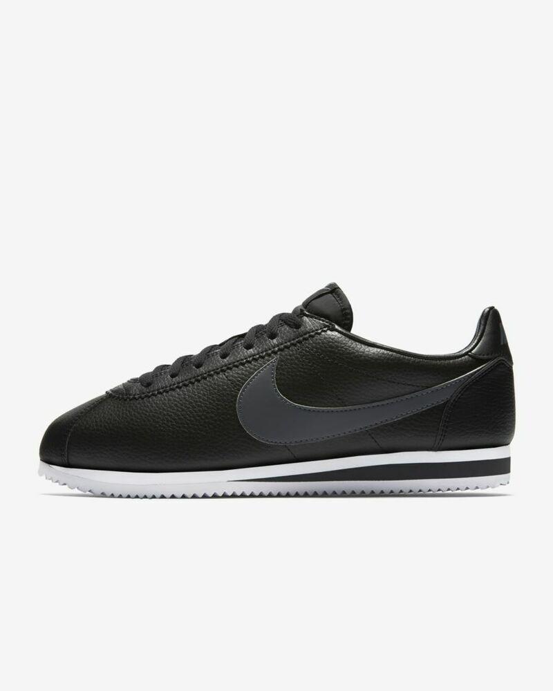 Nike Homme Cortez Classique En Cuir Noir/blanc/gris Baskets-uk 11-eu 46 - Facile à RéParer