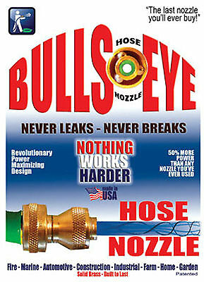 "Bullseye High Power Twist Adjust Garden Hose Nozzle 3/4"" Female GHT Made in USA"