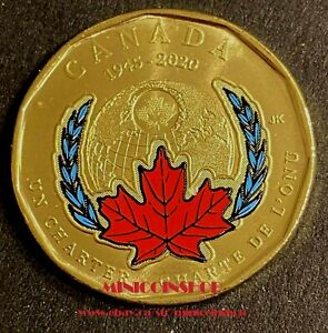 Canada 2020 Special Error $1 Loonie 75th Ann Signing  The United Nations Charter