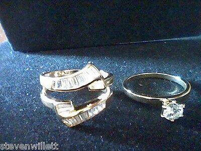 WOMENS LCS DIAMOND ENGAGEMENT WEDDING RING GUARD SET SZ 11 BONUS EARRINGS!
