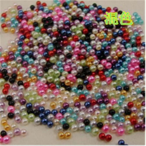 Wholesale 5000-10000pcs 2mm//4mm pas de trou rond Acrylique Perles À faire soi-même Full Color
