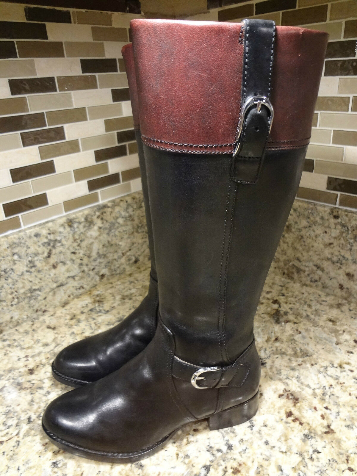 ARIAT WOMEN BOOTS 5.5 B EQUESTRIAN MOTORCYCLE RIDING BLACK LEATHER MINT