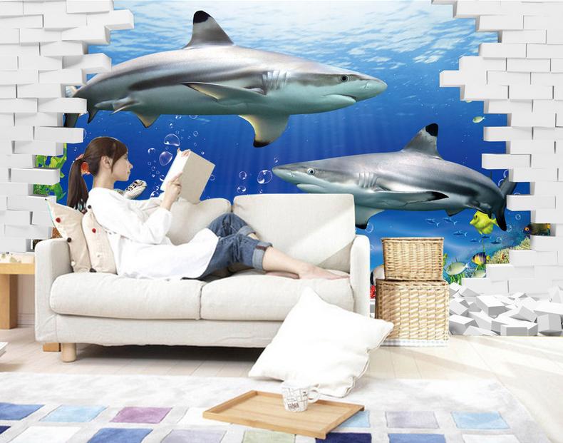 3D Haifisch Und Fisch 8 Tapete Wandgemälde Tapete Tapeten Bild Familie DE Summer