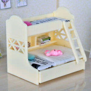 1:12 Dolls House Miniatures Double Bunk Bed Furnishings Decor Accessory