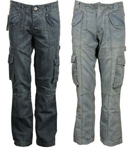 New-Mens-APT-Cargo-Combat-Denim-Pants-Heavy-Duty-Jeans-Trousers-Summer