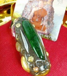 Leklai Lp Somporn Protect Thai Heal Amulet Buddha Lucky Takrut good Rare Wealth