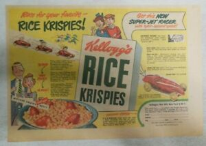 """Kellogg's Cereal Ad: New """"Super-Jet"""" Racer Premium From 1949 Size: 7 x 10 inches"""