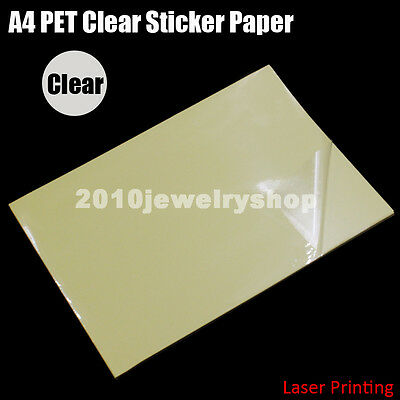 30x A4 Clear Transparent Film Adhesive Paper Sticker Paper Fit Laser Printer