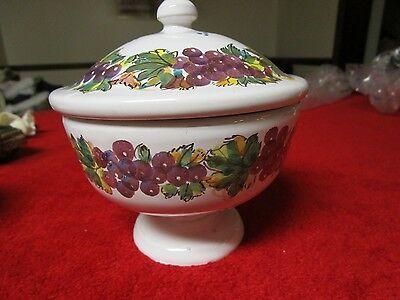Grottaglie Ceramiche Sugar Bowl With Lid White With Grapes by Nicola Fasano RARE