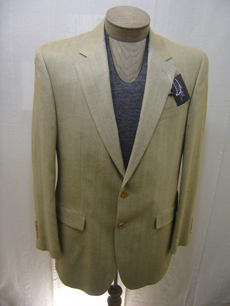 Ralph Lauren  Herren 100% Silk Sport Coat Blazer Tan Khaki Herringbone 40L 295 NWT