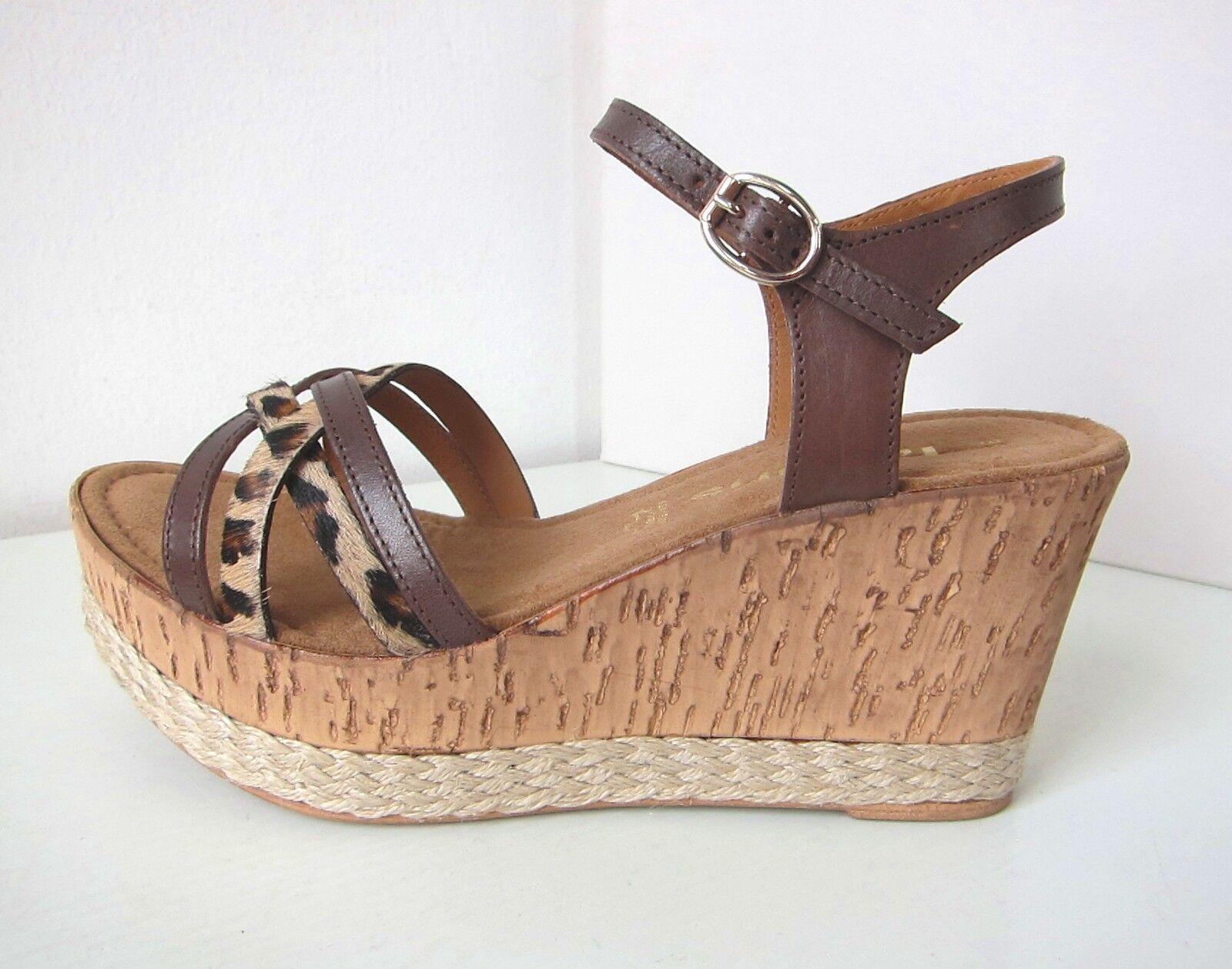 Tamaris tacón de cuña sandalias chocolate marrón leo 36 Platform de cuña moca Leopard