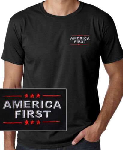 AMERICA FIRST Donald Trump  EMBROIDERED Black Short Sleeve T-shirt