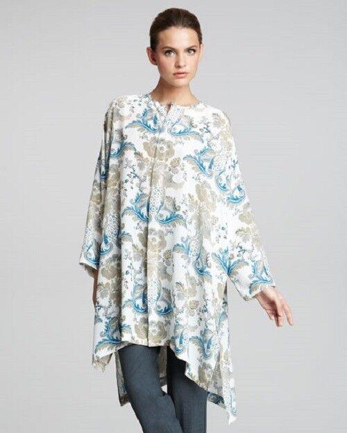 Eskandar PEONY-PRINT Silk High Low Hem 36  Long Tunic (0)