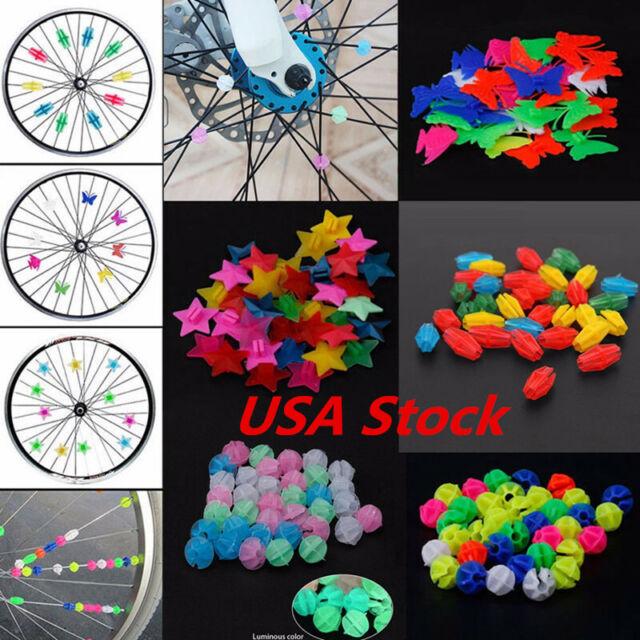Colorful Plastic Clip Kids Girl Boys Bike Bicycle Wheel Spoke Beads Decor 36pcs