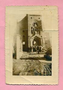 PHOTO-COUDEKERQUE-VILLAGE-pres-DUNKERQUE-L-039-EGLISE-EN-RUINES-WWII