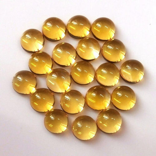 100/% Natural CITRINE 3mm To 10mm Round Cabochon Loose Gemstone Amazing Lot !!